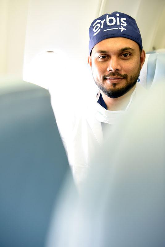Dr. Shailendra Sugrim, of Guyana, aboard Flying Eye Hospital during a regional training in Barbados, Photography: Geoff Bugbee, 2018.